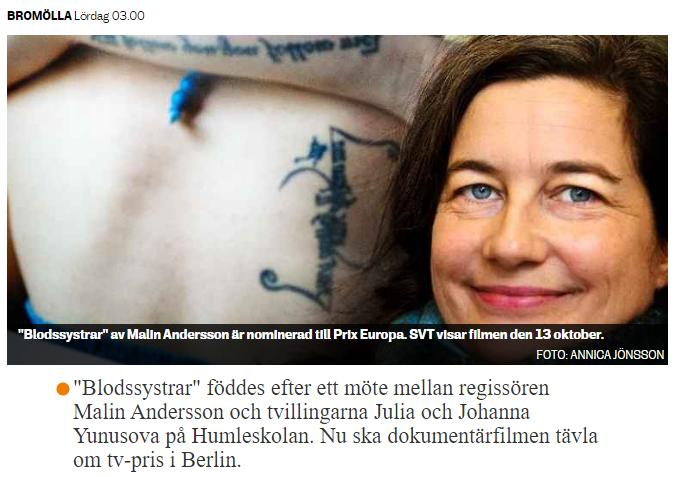 """""""Blodssystrar"""" kan vinna Prix Europa"""